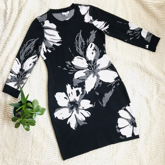 Calvin Klein Dresses & Skirts - Calvin Klein Floral Sweater Dress - H